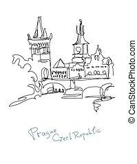continuous line drawing of Prague Czech Republic