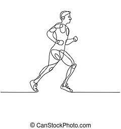 Continuous line drawing of RUNNER -variable line-