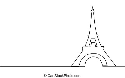 continuous line drawing of the Eiffel Tower in Paris attractions illustration.