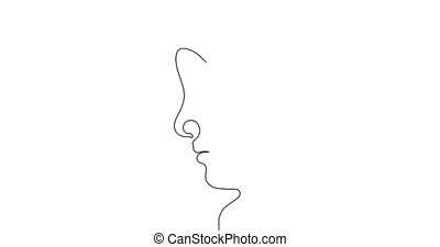 continuous line drawing of two faces.