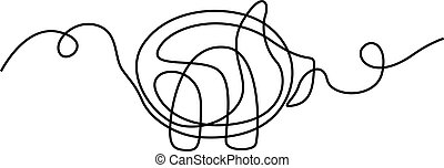 Continuous line drawing Pig. Vector illustration.