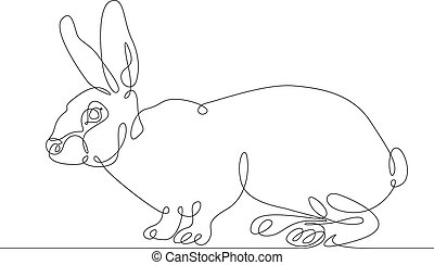continuous line drawing rabbit hare