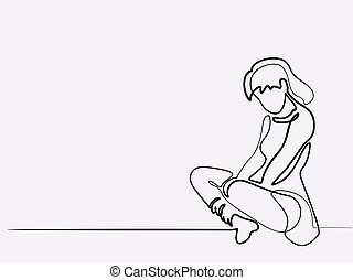 Continuous line drawing different wide. Sitting sad girl. Vector illustration