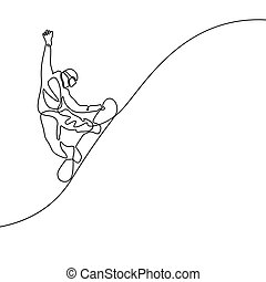 Continuous line drawing Snowboarder jumps vector