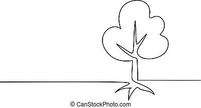 Tree with roots on white background