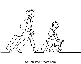 Woman and girl traveling with suitcases - Continuous line...