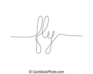 Continuous line drawing word FLY