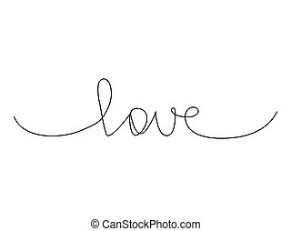 Continuous line drawing word love.