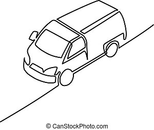 Continuous line isometric drawing. Pickup truck