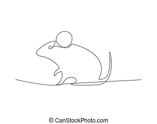 Continuous mouse line drawing stock vector