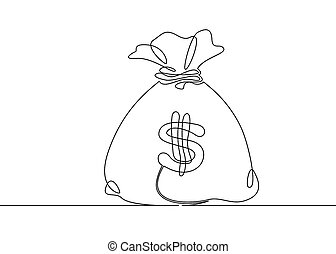 Continuous one drawn single line money bag. Concept of money...