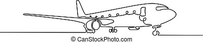 Continuous one line airplane, Vector illustration