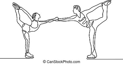Continuous one line Couple of figure skaters, vector