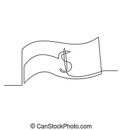 Continuous one line dollar bill. Vector illustration.