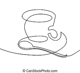 continuous one line drawing - a cup of coffee with a teaspoon