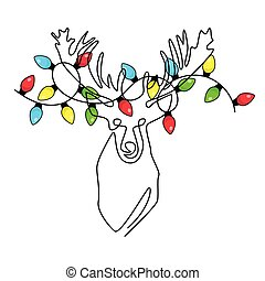 Continuous one line drawing abstract deer head with a garland on horns. Modern one line of animal illustration.