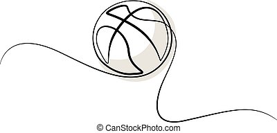 Continuous one line drawing Basketball icon vector