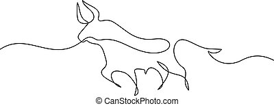 Continuous one line drawing. Bull cow icon