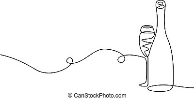 Continuous one line drawing Champagne with a glass.