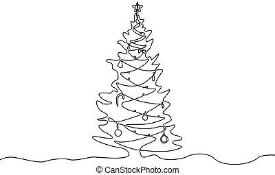 Continuous one line drawing Christmas tree with decorations