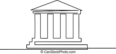 Continuous one line drawing. Column culture icon