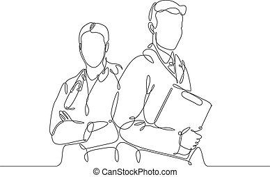 Continuous one line drawing doctor with stethoscop chief medical officer