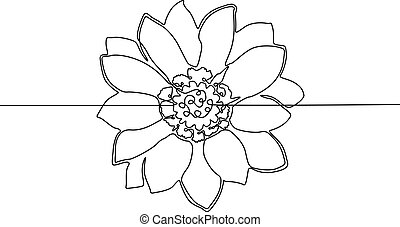Continuous one line drawing Flower. Vector illustration.