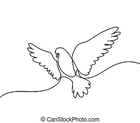 Flying pigeon logo - Continuous one line drawing. Flying ...