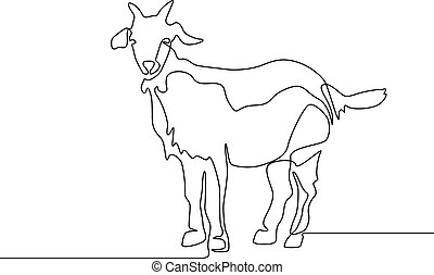 Continuous one line drawing Goat. Vector iluustration.