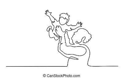 Continuous one line drawing. Grandfather tosses grand son. ...