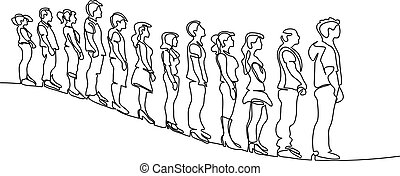 Group of people waiting in line silhouette