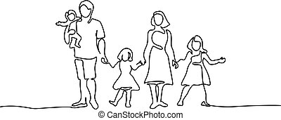 Happy family father and mother with three children