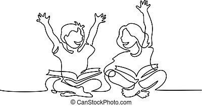 Happy kids reading open books sitting on floor