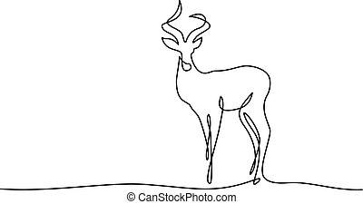 Impala walking symbol - Continuous one line drawing. Impala...
