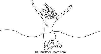 Continuous one line drawing jumping girl, vector