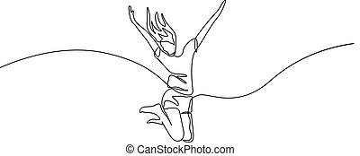 Continuous one line drawing jumping girl vector