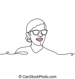 Continuous one line drawing of a woman face with glasses. Vector illustration. Perfect for cards, party invitations, posters, stickers, clothing.