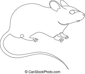 Continuous one line drawing of rat or mouse. Vector illustration