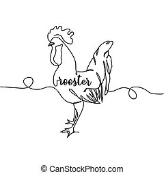 Continuous one line drawing of rooster. Minimal style. Perfect for cards, party invitations, posters, stickers, clothing. Animal concept.