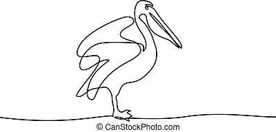 Pelican minimalist symbol - Continuous one line drawing....