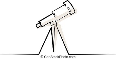 Continuous one line drawing. School Telescope icon