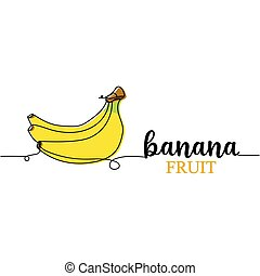 Continuous one line drawing silhouette and lettering of a banana. Fruit concept. Vector illustration isolated on the white background