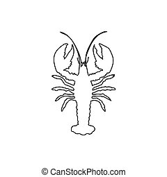 Continuous one line drawing silhouette of a lobster. Vector illustration isolated on the white background. Animals concept.
