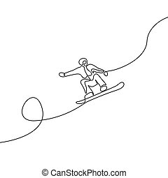 Continuous one line drawing Snowboarder jump vector