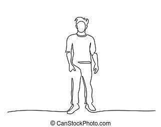 Continuous one line drawing. Standing man. Vector