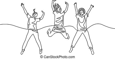 Continuous one line drawing three jumping girls