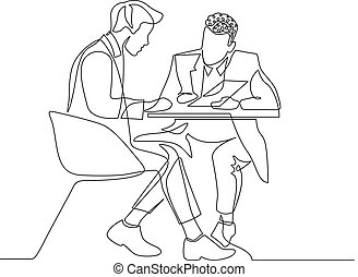Continuous one line drawing two businessman discussing work with documents