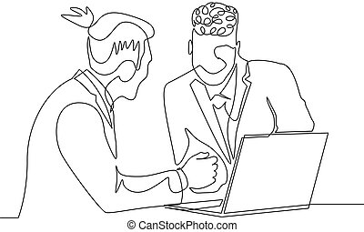 Continuous one line drawing two businessman work together with help laptop