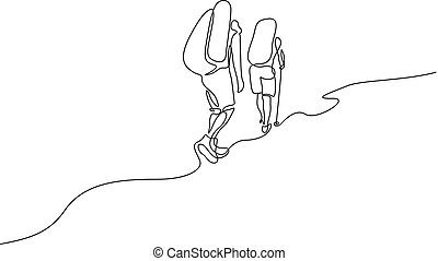 Continuous one line drawing two travelers hiking