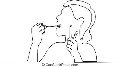 Woman taking smear for COVID-19 test herself - Continuous ...